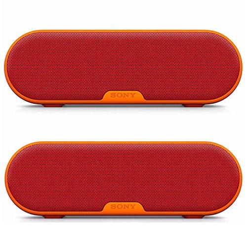 Sony SRSXB2/BLK Portable Wireless Bluetooth Speaker (Red) Dual Pack Bundle