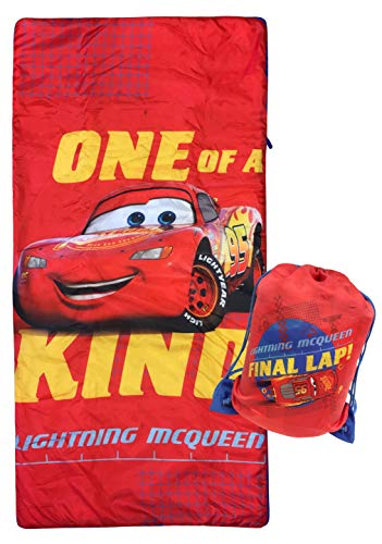 Jay Franco Disney Pixar Cars One of A Kind Slumber Sack - Cozy & Warm Kids Lightweight Slumber Bag/Sleeping Bag - Featuring Lighting McQueen (Official Disney Product)