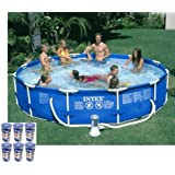 "Intex 12' x 30"" Metal Frame Set Swimming Pool with 530 GPH Filter Pump 