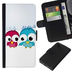 A-type (Divertidos pájaro lindo Amigos) Colorida Impresión Funda Cuero Monedero Caja Bolsa Cubierta Caja Piel Card Slots Para LG Nexus 5 D820 D821