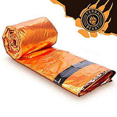 Emergency Sleeping Bag - for Shelter and Protection That Fits in Your Hand - All Weather Survival Bivy for Camping, Hiking and Outdoors - Easy to Use and Reusable - Includes Water Resistant Carry Bag