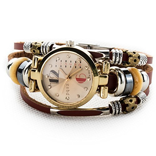 Women's Lady's Girl's Fashion Wrist Bracelet Watch With Genuine Leather Band Gift (Red 6)