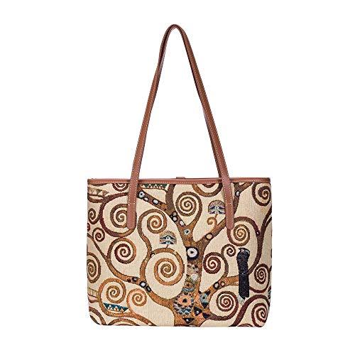 (Signare Tapestry Ladies Fashion Tote College Bag Gustav Klimt Tree of Life (COLL-ART-GK-TREE))