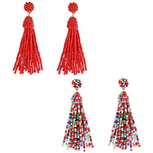NLCAC Women's Beaded tassel earrings Long Fringe Drop Earrings Dangle 6 Colors (red and confetti)