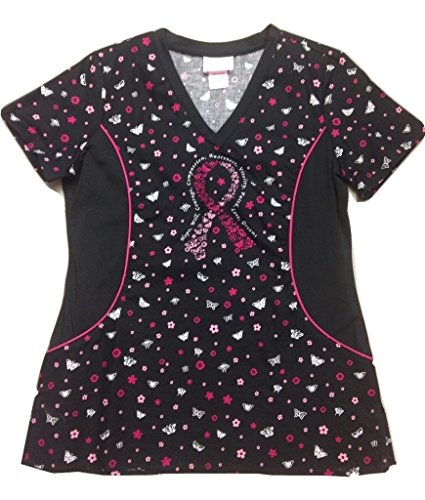 Pink Ribbon Scrub (Allure Side Panel Top-Wings of Hope,S)