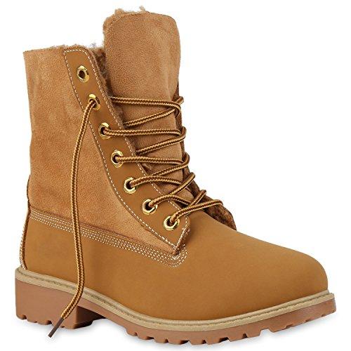 Stiefelparadies Damen Stiefeletten Worker Boots mit Blockabsatz Profilsohle Flandell Hellbraun Hellbraun