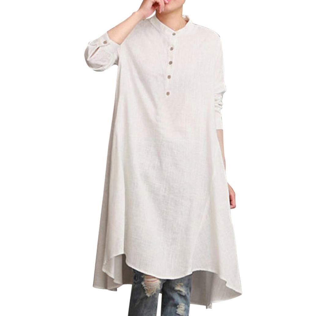 Spbamboo Womens Cotton Linen Long Sleeve Loose Blouse Tops Shirt Baggy Pullover