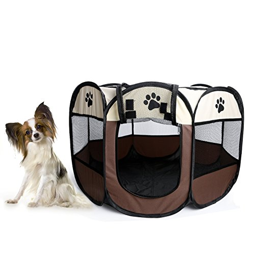 Foldable Dog Cat Playpen Yard Security Kennel Mesh Shade Cover Fence Tent For Indoor Outdoor Review