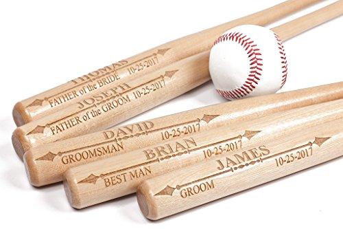 (Custom Laser Engraved Mini Wood Baseball Bat, Personalized, Wedding, Groomsman, Gift for Guys, Sports, Baseball Fan, Junior Baseball Bat)