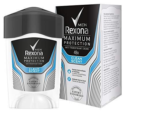 Rexona Maximum Protection Clean Scent Men, Anti-Transpirant Cremestick für langanhaltende Frische 48-Stunden-Schutz, 1 Stück (1 x 45 ml)