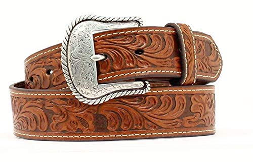 - Nocona Belt Co. Men's Floral Embose Western Bucle, Tan, 36