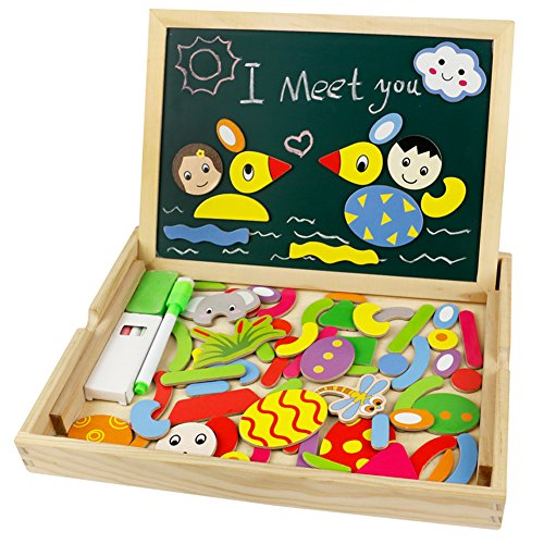 Wooden Magnets Magnetic Drawing Board Game Wood Animal Style Double Side Jigsaw Puzzle Box Montessori Activities for Kids Boys Girls Children 3 Years Old (Magnetic Board Wood)