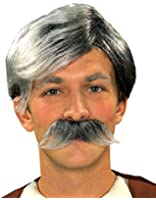 Forum Novelties Gepetto Wig and Moustache Kit, Grey