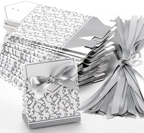 (Classy Looking 50pcs Favor Candy Boxes Gift Boxes with Ribbons (Silver))