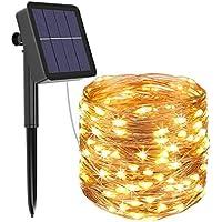 [1 Pack] Guirnaldas Luces Exterior Solar, Litogo Luces Led Solares Exteriores Jardin 12m 120 LED 8 Modos Cadena de Luces…