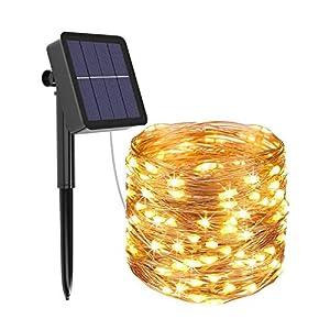 [1 Pack] Guirnaldas Luces Exterior Solar, Litogo Luces Led Solares Exteriores Jardin 12m 120 LED 8 Modos Cadena de Luces… 51aZbjvB1zL