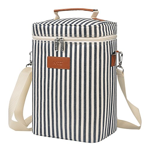Insulated Wine Carrier Tote - 4 Bottle Travel Padded Wine Carrying Cooler Bag with Handle and Adjustable Shoulder Strap, Great Wine Lover Gift, Striped -