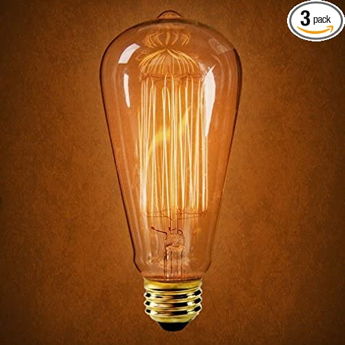 Woolty of Edison Bulb Long Life Marconi Squirrel Cage Filament Bulb Amber x6