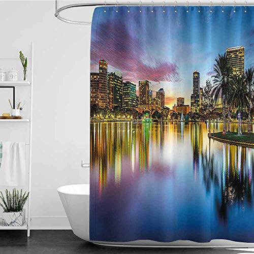 Hariiuet Shower Curtains Dragon Ball Wide Tap,Famous USA Urban Downtown View of Orlando Florida from EOLA Lake Romantic Scene,Blue Yellow W72 x L84,Shower Curtain for -
