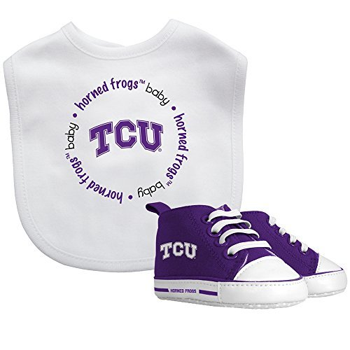 TCU Baby Fanatic Bib with Pre-Walkers, NCAA Texas Christian Horned Frogs Infant Shoe Gift Set