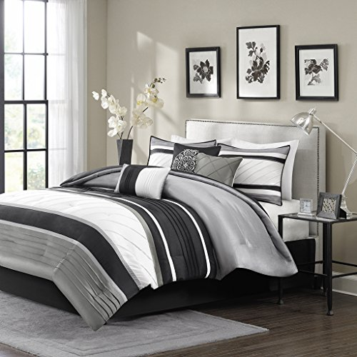 Madison Park Blaire King Size Bed Comforter Set Bed in A Bag - Grey, Stripe – 7 Pieces Bedding Sets – Faux Silk Bedroom Comforters