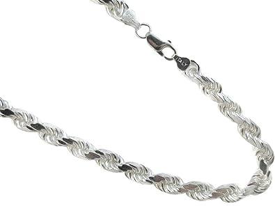 fe70c91e56b83 8mm Sterling Silver Rope Necklace .925 Italian Diamond-cut Chain.  20,22,24,30 Inches