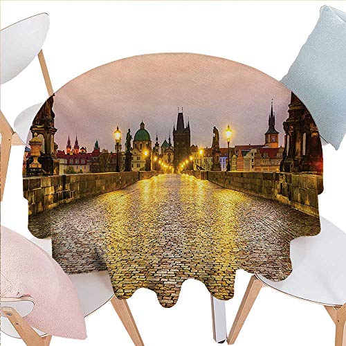 (BlountDecor Landscape Dinner Picnic Round Table Cloth Charles Bridge Old Town Prague Czech Republic with Classic Medieval Buildings Waterproof Round Table Cover for Kitchen D36 Yellow Brown)
