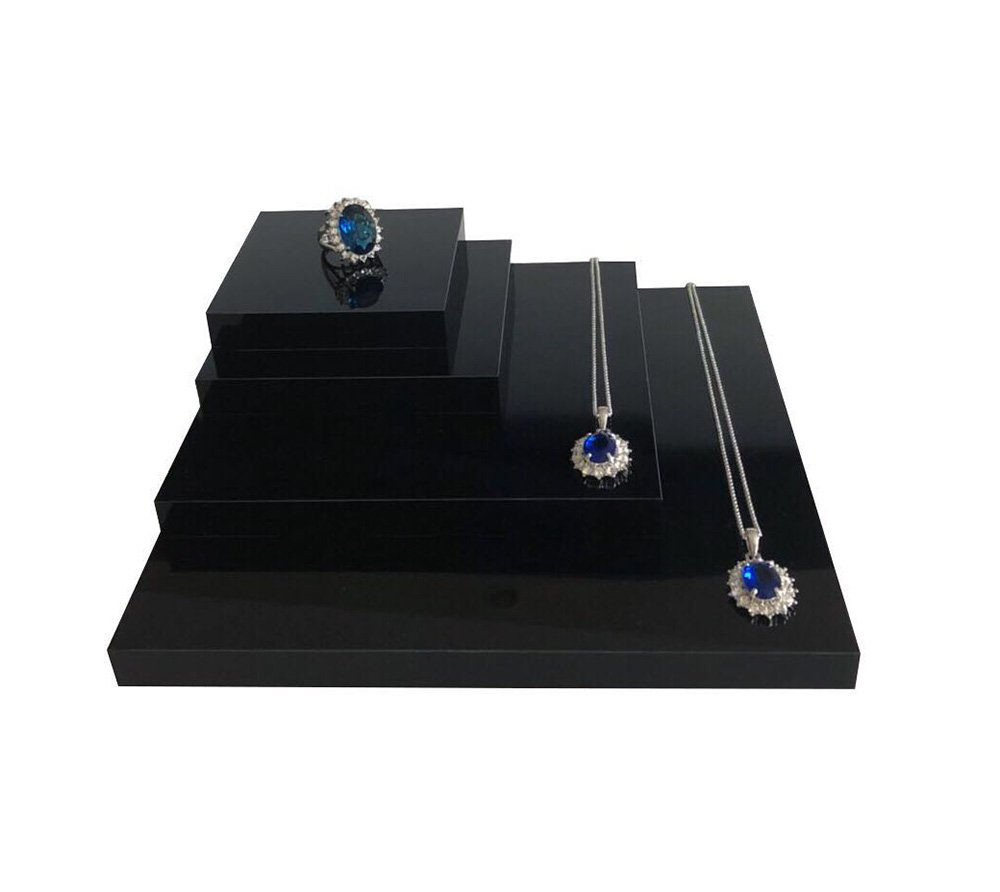 Fine Jewelry Display Platform Block Black Premium Acrylic Necklace Ring Earrings Precious Stones Photography Exhibition Art (Set of4)