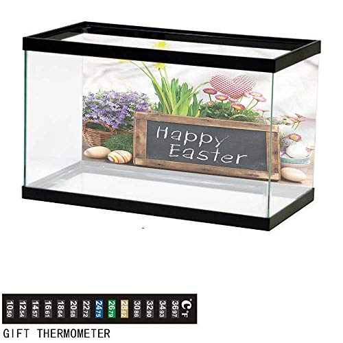bybyhome Fish Tank Backdrop Easter,Flowers Eggs on Table,Aquarium Background,36