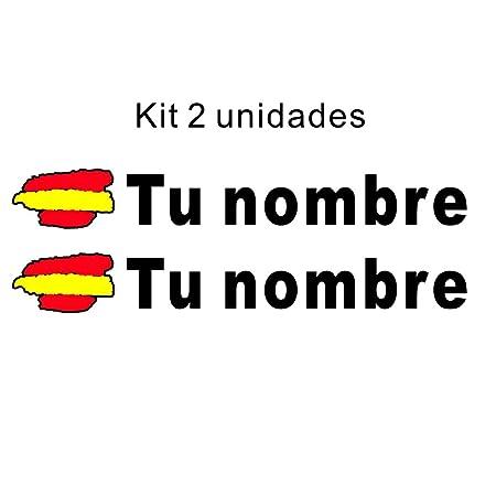 Pegatina vinilo bandera de españa + nombre personalizado, kit 2 ...