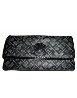 Women's Checkbook Wallet, Black Alpaca/Black Trim
