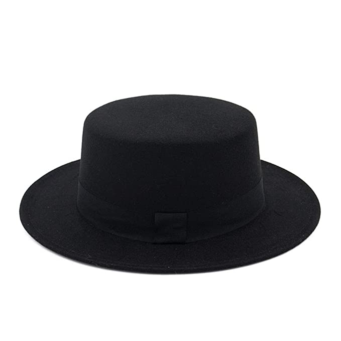 ab74081c FADVES Wool Flat Top Hat Boater Wide Brim Felt Fedora Hats Black Ribbon  Bowler Cap at Amazon Women's Clothing store:
