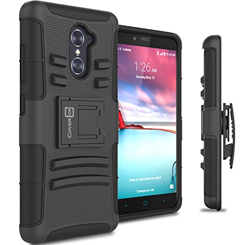 ZTE Grand X Max 2 Holster Case, ZTE Max Duo LTE Case, CoverON® [Explorer] Hybrid Armor Belt Clip Hard Phone Cover for ZTE Grand X Max 2 / Max Duo LTE- Black & Black