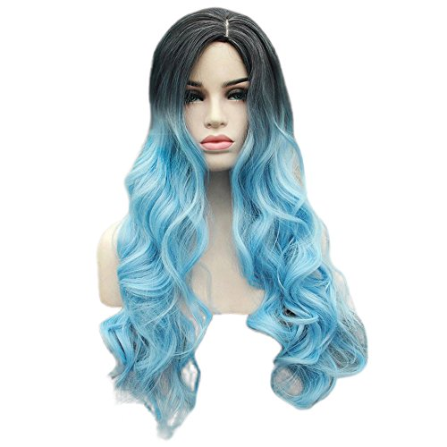 Panda Hair Women Wigs 29 Inch Long Wavy Ombre Color Synthetic Wig - Cosplay Party Use Wig for Women(Black to Sky Blue) by Panda hair