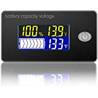4 in 1 Battery Monitor Capacity Meter Voltmeter 0-179℉ Thermometer Battery Fuel Gauge Indicator Voltage Monitor