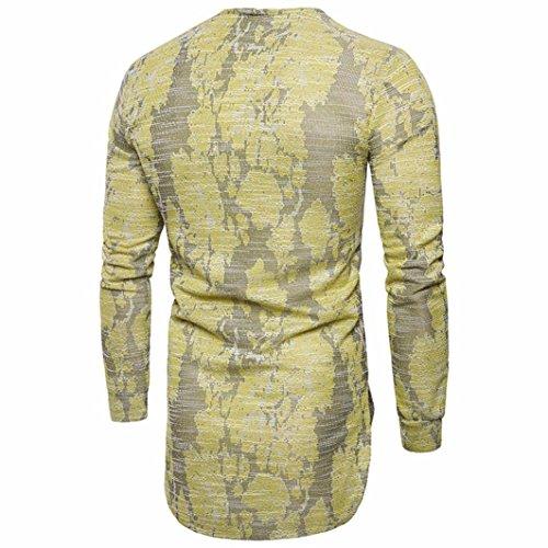 Manches Blouson Longues E shirt Slim Courtes Jaune Décontracté T Neck O Hommes Fit Fnkdor vBwqgf0B