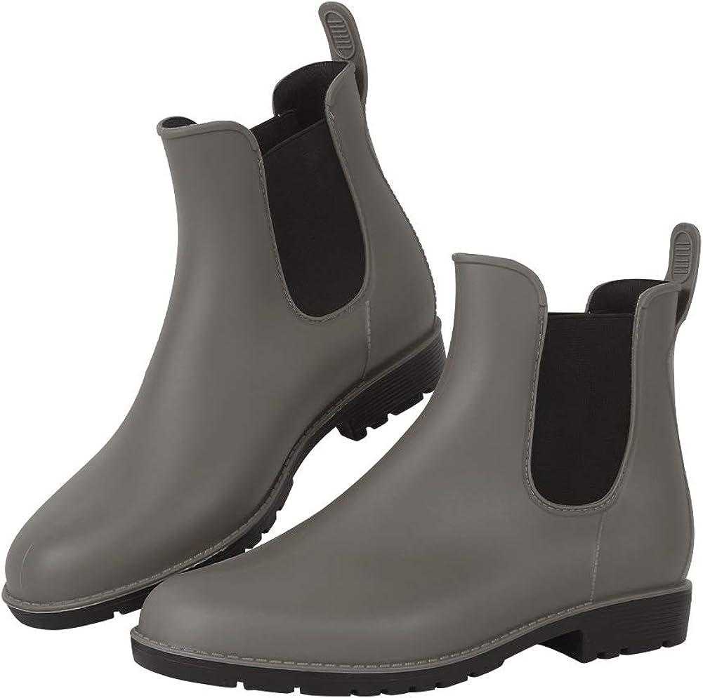 DAWAN Women's Anti-Slip Rain Boots Short GardenShoes Waterproof Chelsea Booties