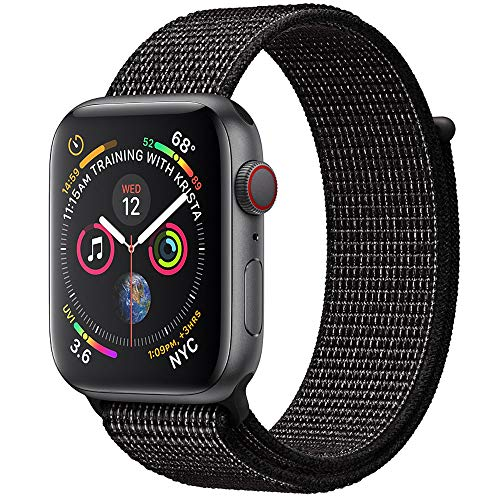 RUOQINI Compatible with Apple Watch Band 44MM Series 4 Soft Lightweight Nylon Loop Replacement Strap for iWatch 4,Nike+ Black