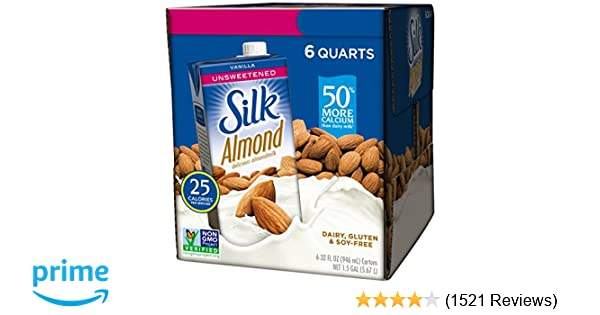 Silk Almond Milk, Unsweetened Vanilla, 32 Fluid Ounce (Pack of 6), Vanilla Flavored Non-Dairy Almond Milk, Dairy-free Milk: Amazon.com: Grocery & Gourmet ...