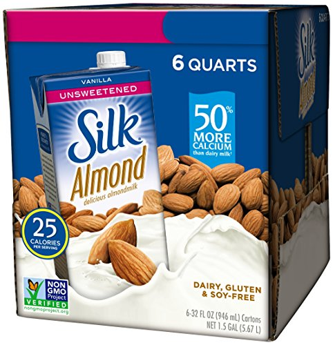 Silk Almond Milk, Unsweetened Vanilla, 32 Fluid Ounce (Pack of 6), Vanilla Flavored Non-Dairy Almond Milk, Dairy-free Milk (Chocolate Almond Milk Box)