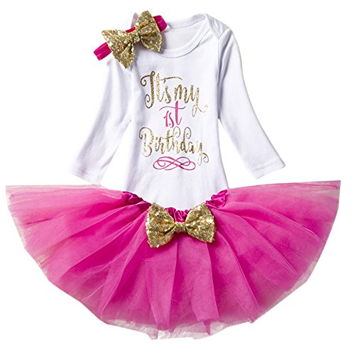 Baby Girl It's My 1st/2nd Birthday Cake Smash 3/4Pcs Shinny Sequin Bow Romper+Tutu Skirt+Headband+Leg Warmer - Layered Cake Girls