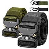 AIZESI 2 Piece Men's Tactical Belt, Military Style Nylon Webbing Riggers Belt with Quick Release Metal Heavy-Duty Buckle, for Worker,Police,Firefighter,Soldiers(Black+Green[2PCS])