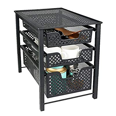"MustQ Stackable 3 Tier Organizer Baskets with Mesh Sliding Drawers, Ideal Cabinet, Countertop, Pantry, Under The Sink, and Desktop Organizer for Bathroom,Kitchen, Office. - FUNCTIONAL DESIGN:Compact vertical design for small spaces,Made of metal mesh with a beautiful finish-Measures approximately 10.87""L x 16.75""W x 13.5""H. CREATE EXTRA STORAGE:Add space virtually anywhere using the pull out baskets -Create an eye-pleasing side-by-side arrangement by adding multiple organizers on any flat surface. SLIDING BASKET DRAWERS :Drawers effortlessly slide open and close-Features convenient for easy transport from place to place. - shelves-cabinets, bathroom-fixtures-hardware, bathroom - 51aZeLMDLaL. SS400  -"