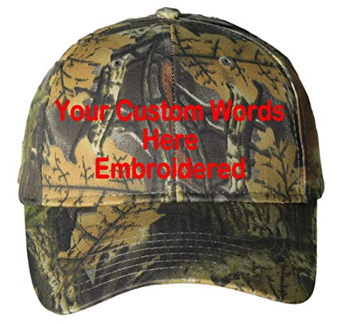 Custom Hat, Embroidered. Your Own Text. Adjustable Back. Curved Bill (Leaf Camo)