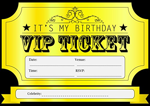 10 VIP GOLDEN TICKET THEME BIRTHDAY PARTY INVITATIONS KIDS INVITES CHILDRENS i003 -