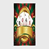 One Side Printing Hotel SPA Beach Pool Bath Hand Towel,Poker Tournament Gambling Fortune Wealth Playing Cards Hand Casino Roulette Winning Print Decorative Multicolor,for Kids Teens and Adults