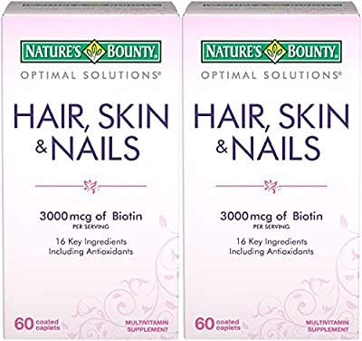 Nature's Bounty Optimal Solutions Hair, Skin & Nails Formula, 120 Coated Caplets (2 X 60 Count)