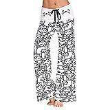 Kirbyates Pants Womens Thin Comfy Wide Leg Palazzo Pants Cat Print High Waist Loose Lounge Yoga Workout Pants White
