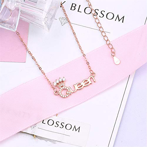 Crystal Queen Letter Pendant Necklace Chain for Women Colar Necklace Everyday Wear Fashion Jewelry (Rose Gold)