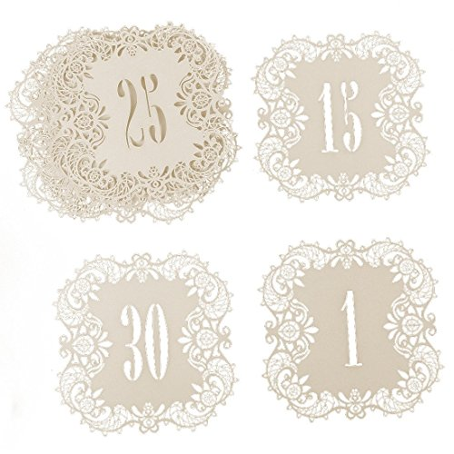 Hyaline&Dora Laser Cut Wedding Table Card Numbers Lace Table Cards for Wedding Reception Party Favors (lvory number 1-30)